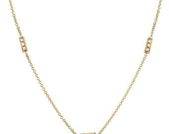 Diamond bar trio necklace, 14k solid gold, pave diamond