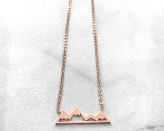 Mountain Necklace Dainty Adjustable Silver Gold Rose Gold Snowy Mountain Necklace for Hikers Snowboarders Skiers Nature Lovers