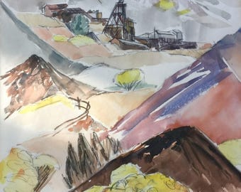 Watercolor Pioche Nevada Old mining Town 1966 Painting by Pan Eimen