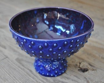 Navy Blue / Purple Dotted Pottery Bowl, Handmade Ceramic, Decorative Serving Plate, Home Decor