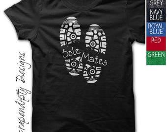 Womens Running Shirt - Sole Mates Tshirt / Mens Marathon Shirt / Running Mate Clothes / Team Workout Clothes / Workout Buddy Shirt / Sneaker