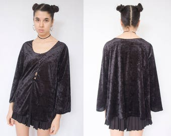 BLACK VELVET JACKET -tshirt, top, wide sleeves, gothic, grunge, witch, 90s, party, club kid, cardigan, night-