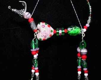 Greyhound Whippet Sighthound Lavender Festive Heart Hound Bead Ornament