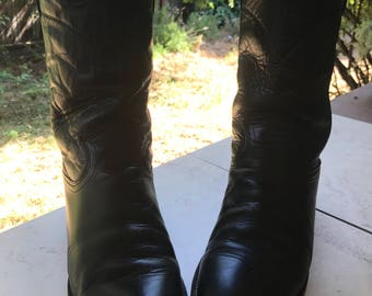 Vintage Black Leather Justin Ropers Size 8b Cowboy Boots Size 10m Cowgirl Boots