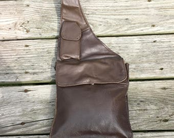 90s Small Backpack Brown Leather Crossbody