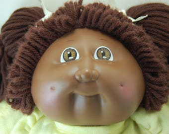 Vintage Cabbage Patch Kid African American Girl Doll with Yellow Dress, 1985 Coleco