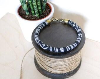 Black Baja Bangle; travel, wanderlust, gift her him, summer, tribal, aztec, green, festival, bracelet, surf, friendship, jewellery, jewelry
