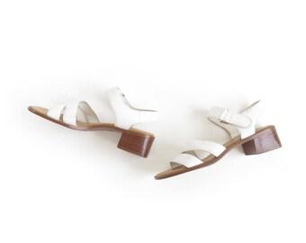 White Sandals Leather Ankle Strap Sandal Low Heel Sandal Minimal Shoe 90s Minimalist Sandal Chunky Heel Womens Size US 7.5, EU 38, UK 5.5