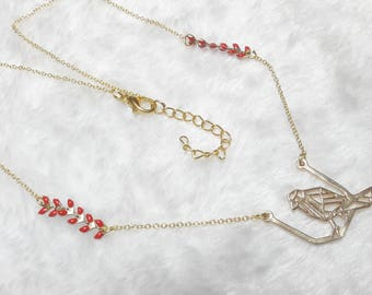 Red origami bird gold necklace