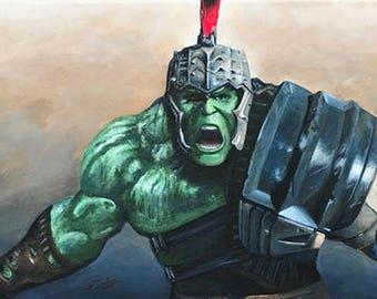 Incredible Hulk Original Painting by Artist Tony Rector // Planet Hulk Scene From Thor // Marvel Superhero // Original Acrylic Art