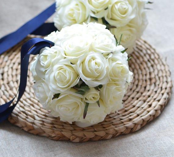 Ivory Flower Ball: Flower Girl Flower Ball Real Touch Ivory Roses Wedding Balls
