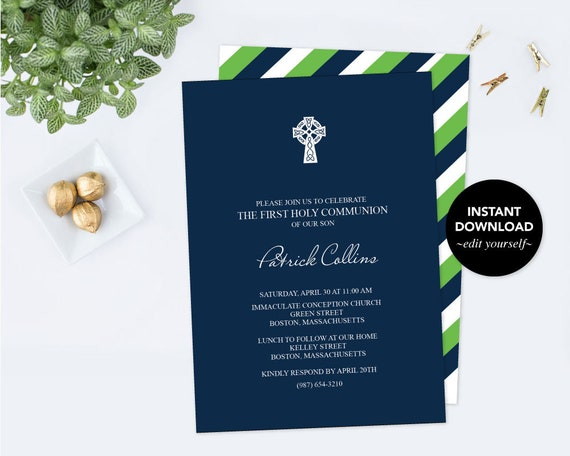 Boy first communion invitation baptism invite pdf invite template il570xn solutioingenieria Choice Image