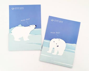Polar Bear Sticky Notes - Dark Blue (1 pc / 2 pcs) Stationery Kawaii Cute Memo Planner Notepad Paper Animal