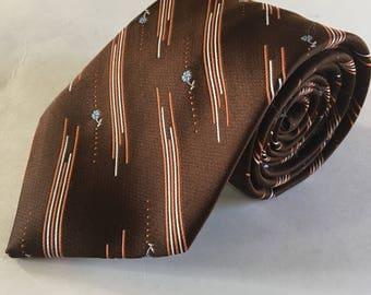 Vintage 1980s Wide Tie Polyester tie 80s Men's Fashion - Husband Gift, Dad Gift, Boyfriend Gift