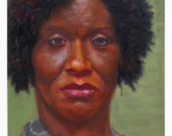 Kim Moore Oil Painting Black Woman Portrait Vintage