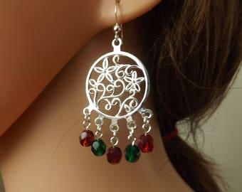 Christmas chandelier earrings, red and green earrings, flower earrings, Xmas earrings, Christmas jewellery, party earrings, drop earrings,