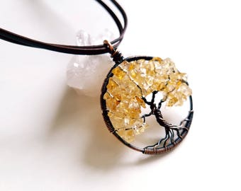 Citrine Tree of Life, wire wrapped jewelry handmade, wire wrapped pendant, copper tree of life, Citrine by Naomis Classy Craft