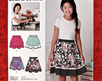 Simplicity Easy Sewing Pattern S0901 8106, Skirts, Pull-On, Girl Plus Sizes 8 1/2 - 16 1/2, Tween Teen Summer Fall Fashion Sportswear, UNCUT