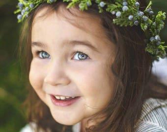 Child Holiday Crown, flower crown, floral crown, winter crown, holiday crown, christmas crown, juniper flower crown, berry crown, rustic