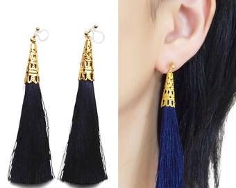 Navy Blue Tassel Clip On Earrings, Long Fringe Invisible Clip-On Earrings, Dangle Modern Boho Behemian Clip Earrings, Non Pierced Earrings