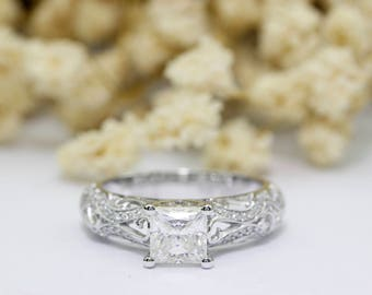 Moissanite Ring, Antique Filigree Princess Cut 1.00ct Esdomera Moissanite 14k White Gold Accents Engagament Ring