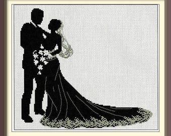 Wedding Cross Stitch Pattern, Wedding count stitch pattern, bride and groom, just married pattern, instant download wedding pattern