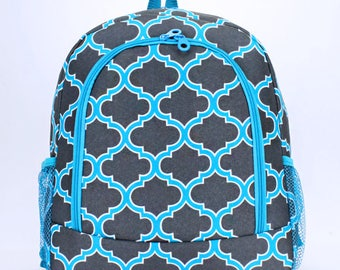 Quatrefoil Print Monogrammed School Backpack Dark Gray and Turquoise