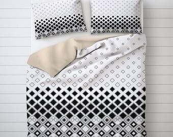 Geometric Art Bedding Set, Unique Duvet Cover, White Duvet Cover, Best Duvet Covers, Bed Decoration, Comforter Cover Queen