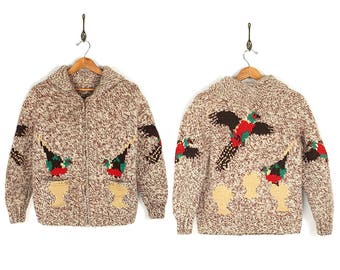 Vintage Pheasant Cowichan - Rare 1950s 1960s Pheasant Hunting Wool Cowichan - 50s/60s Hand Knit Novelty Pheasant Cowichan Sweater