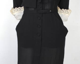 Vintage 40s Black Casual Day Dress - 1940s Fitted Shirtwaist Dress