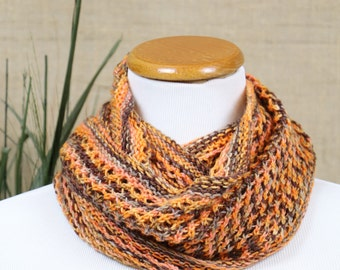 Multicolored cowl, orange, brown, gold infinity scarf, openwork circle scarf, merino wool scarf