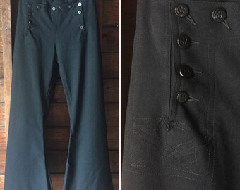 Admiralty Sailor Pants / 1940s High Waisted Pants / 1940s Wide Leg Pants