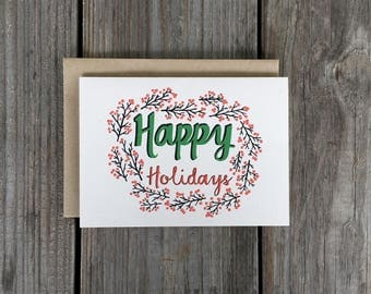 Happy Holidays Card, Illustrated Holiday Card Set, Christmas Card Set