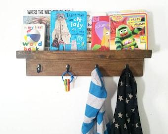 Rustic coat roack - Kids bookcase shelf - rustic coat hook