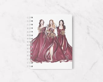 Fashion notebook, Dress your desk, Blank notebook, Fashion illustration, Notebook, A5 notebook, Office supplies, Fashion stationery