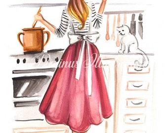 Kitchen decor, Fashion illustration, Food lover art, Art for girls, Art, for women, Art for Mom, Kitchen art, Kitchen wall art, Foodie decor