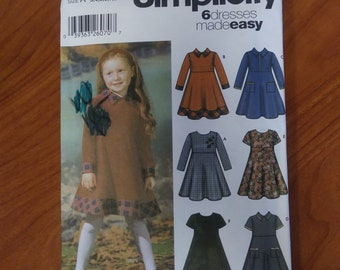 SIMPLICITY, 5827, sewing pattern, size A, 3,4,5,6,7,8, sewing, pattern, girls dress, easy