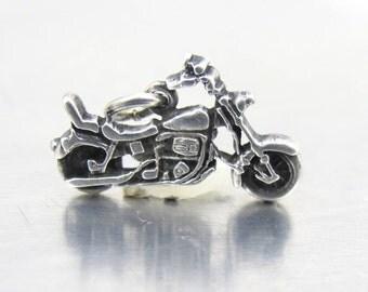 Solid Sterling Silver Motorcycle Charm Pendant, Harley Davidson, Biker Jewelry, Necklace Pendant, Bracelet Charm