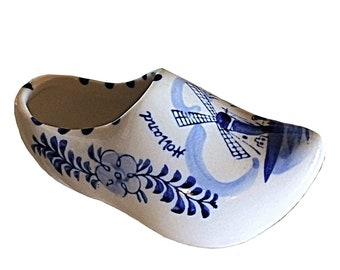 Delft Blue, Made in Holland, Blue and White, Blue White Porcelain, Floral Design, Blue and White Shoe, Dutch Ashtray, Dutch Blue, Dutch Shoe