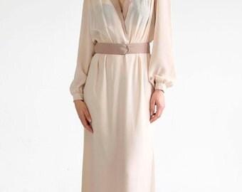 Vintage Wrap Maxi Dress Long Bishop Sleeve Deep Plunging V Neck Slit Belted Collared Lightweight Beige Flowy Chiffon ILGWU 1970s