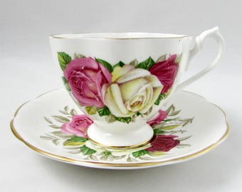 Queen Anne Tea Cup and Saucer with Three Roses, Vintage Bone China