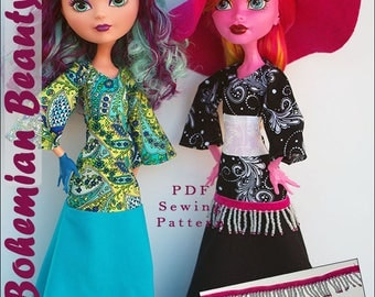 """BOHEMIAN BEAUTY Maxi Dress and Hat Doll Clothes Sewing Pattern for 17"""" Fashion Dolls like Monster High, fits Gooliope - Instant PDF Download"""