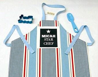 Personalized Kid's Apron, STAR Chef, Boy's Apron, Blue Nautical Stripe, Printed Name, Children's Baking Gift, Toddler to Teen Apron