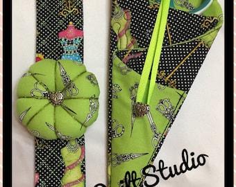 Wrist Pin Cushion & Scissor Keep - Sewing Set