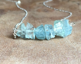 Aquamarine Necklace - Raw Aquamarine Necklace Sterling Silver or Gold - Raw Crystal Necklace - Aquamarine Jewelry - Crystal Necklace