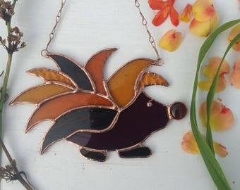 Stained Glass Sun Catcher 'Hedgehog' Suncatcher,Home Decor, Birthday Gift, OOAK,Woodland,Wildlife,Hedgepig, Glass Art
