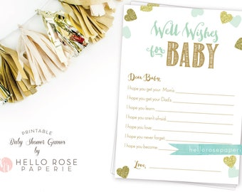 Well Wishes for Baby . Dear Baby Advice Card . Mint and Gold Baby Shower Printable . Instant Download . Girl Boy Twin Baby Shower Games