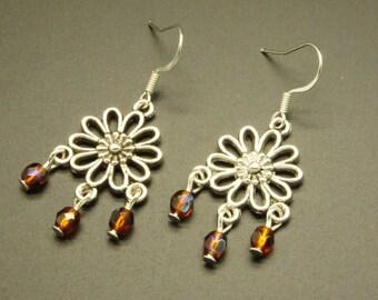 Romantic faceted Orange earrings
