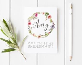 Bridesmaid Proposal, Will You Be My Bridesmaid? Pretty Bridesmaid Card, Summer Wedding, Maid Of Honor Card, Card For Bridesmaid, Wreath Card
