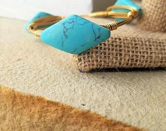 Turquoise Bangles, Turquoise Bangle Stacks, Teal Bangles, Crystal Bangles, Turquoise Bracelets, Natural Stone Bangles, Gemstone Bangles